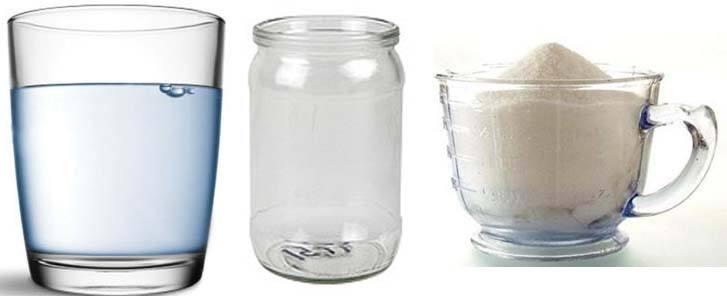 Вода, банка, сахар
