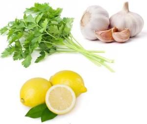 Петрушка, чеснок, лимон
