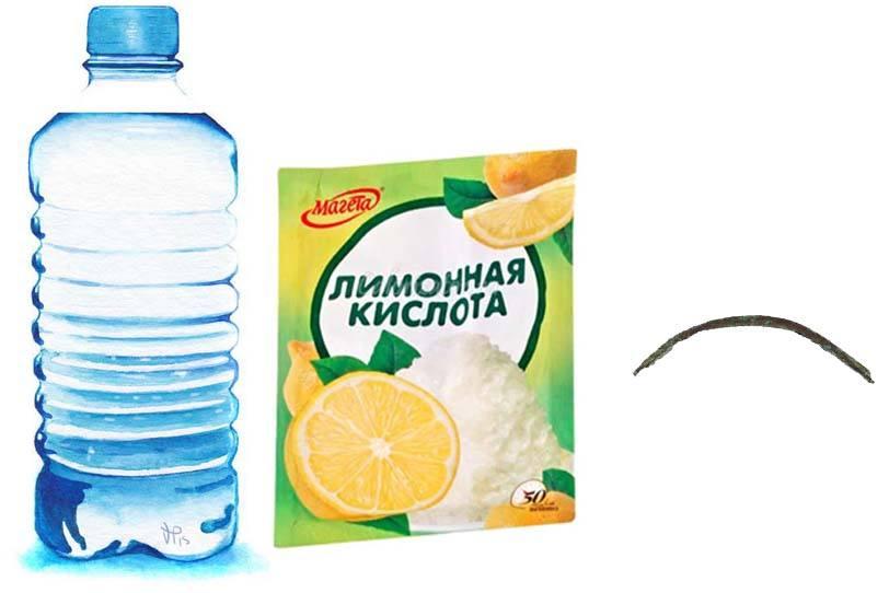Вода, лимонная кислота, фрагмент проволки