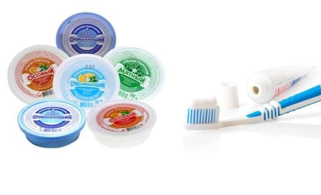 Чистящее средство из зубной пасты или порошка