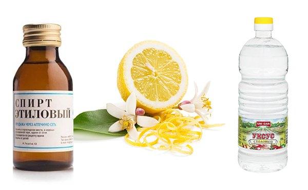 Смесь из спирта лимонного сока и уксуса