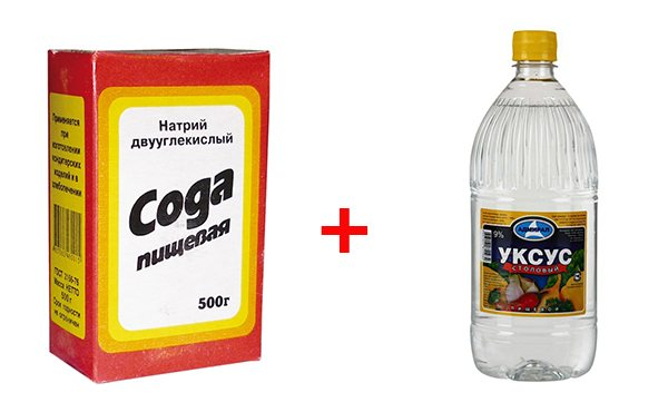 Уксусная смесь с пищевой соды для очистки ванны