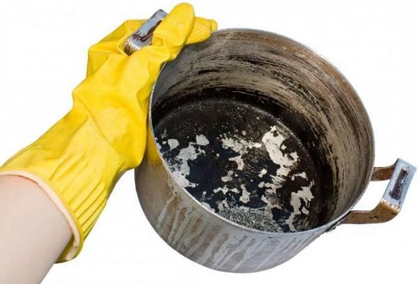 Очистка алюминиевой посуды от нагара и застарелых жиров