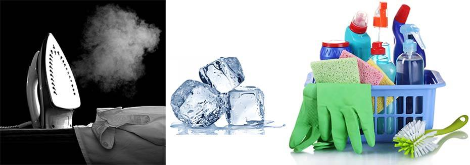 Утюг, лёд, средства