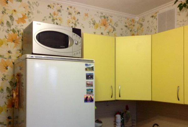 Микроволновка на холодильнике