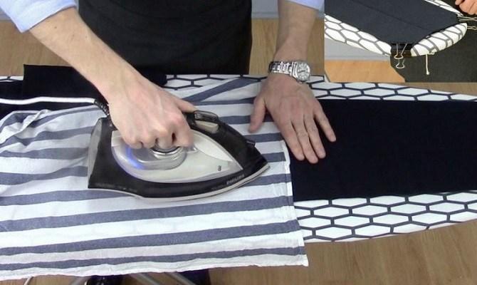 Разглаживание брюк через марлю