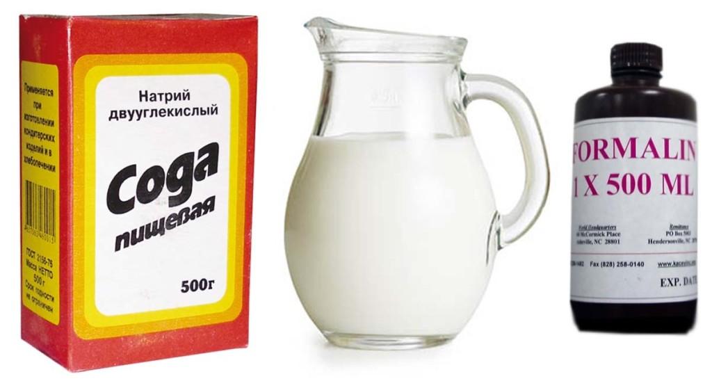 Сода, Молоко, формалин