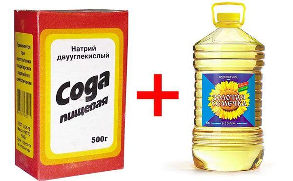 Смесь из соды и растительного масла