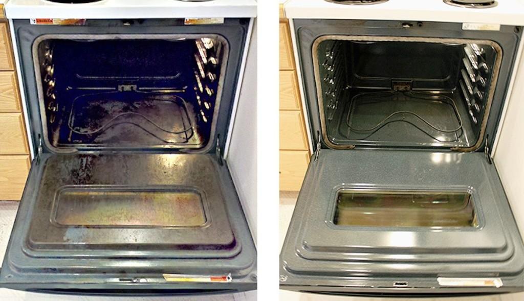 Духовка до п и после очистки от жира и гари