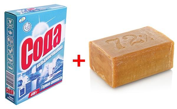 Смесь из хозяйственного мыла и кальцинированной соды
