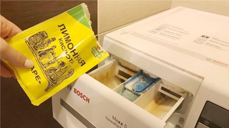 Чистка стиральной машинки с помощью лимонной кислоты