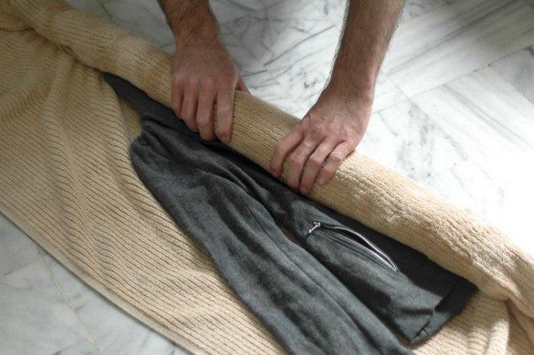 Естественная сушка с помощью полотенца