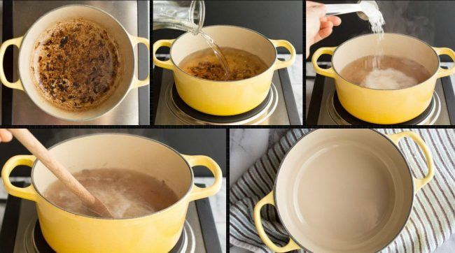 Очистка пригоревшей посуды солью