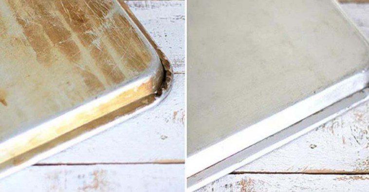 Алюминиевый противень до и после чистки
